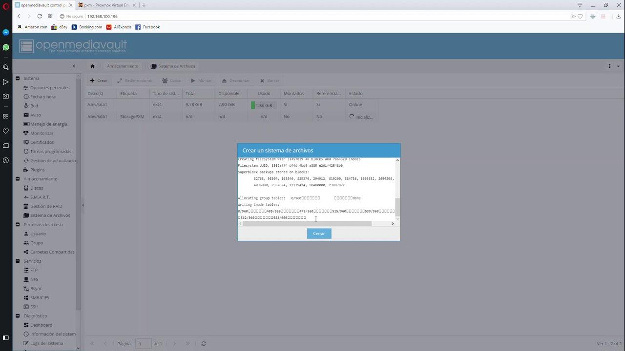 Configuración de OpenmediaVault para Servir NFS a PROXMOX