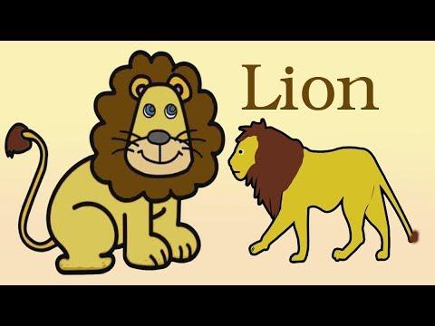 رسم اسد للاطفال رسم وتلوين الأسد رسم الحيوانات للاطفال رائع