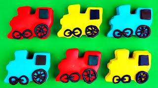 play doh trains surprise eggs thomas tank engine mickey mouse cars 2 spongebob toy trains fluffyjet