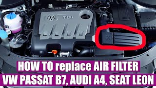 how to change replace the air filter on vw passat b7 2 0 tdi 2011 2015