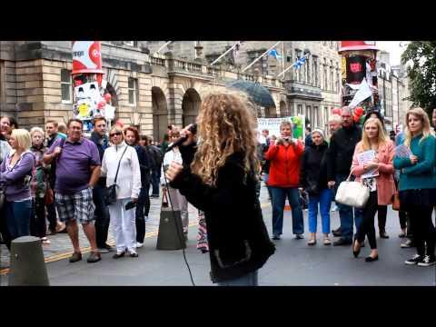 Proud Mary  13 year old saskia  busking on Royal Mile Edinburgh