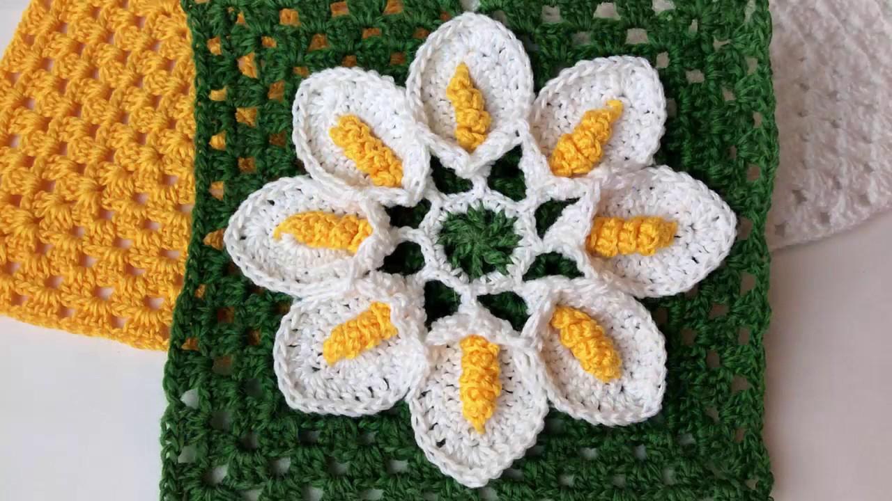 Вязание цветка квадратом