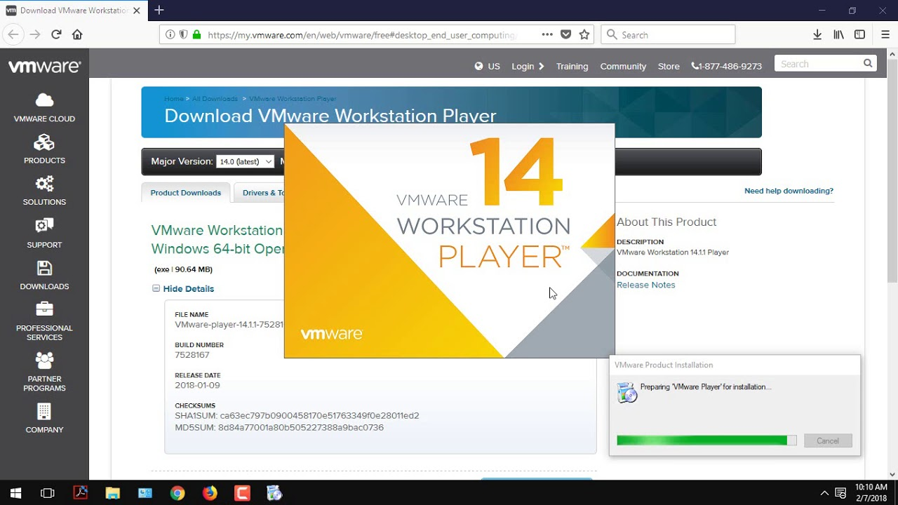 vmware workstation 14 player free download
