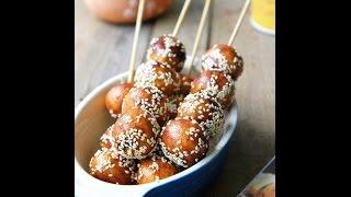 Hướng dẫn cách làm bánh nếp xiên tẩm đường   Fried sticky rice balls ngon tuyệt