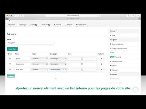 Eventmaker.io Help fr #47 : Gérer les menus de votre site web événementiel