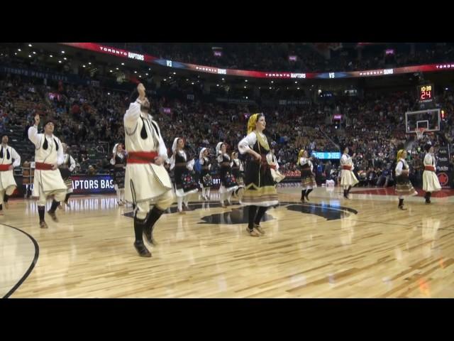 "Serbian Folklore Ensemble ""KOLO"", at ACC, 2017Jan22, NBA halftime: /Raptors vs. Phoenix Suns-floor"