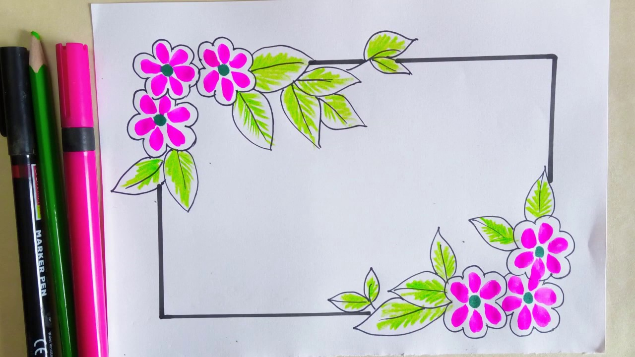 Floral Drawing Borders And Corners 3 Flower Painting For Front Page Cover Page Decoration Youtube