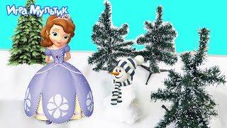 Принцесса София лепит снеговика - Игра Мультик - Видео для детей