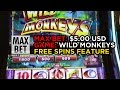 Max Bet Of 5 Dollars In Wild Monkeys Slot Machine Free Spins Feature