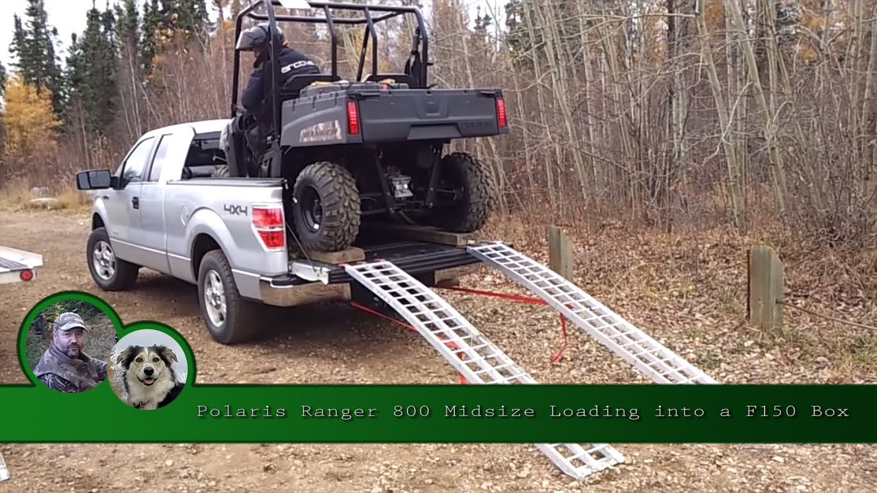 Polaris Ranger 800 Midsize Loading into a F150 Box - YouTube