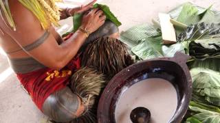 How To Prepare Palusami, Taro Leaves And Coconut Cream In Samoa