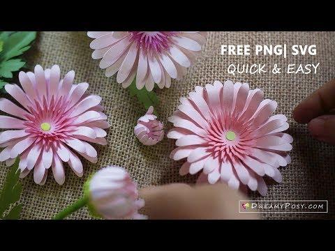 Paper flowers diy tutorial, free templates