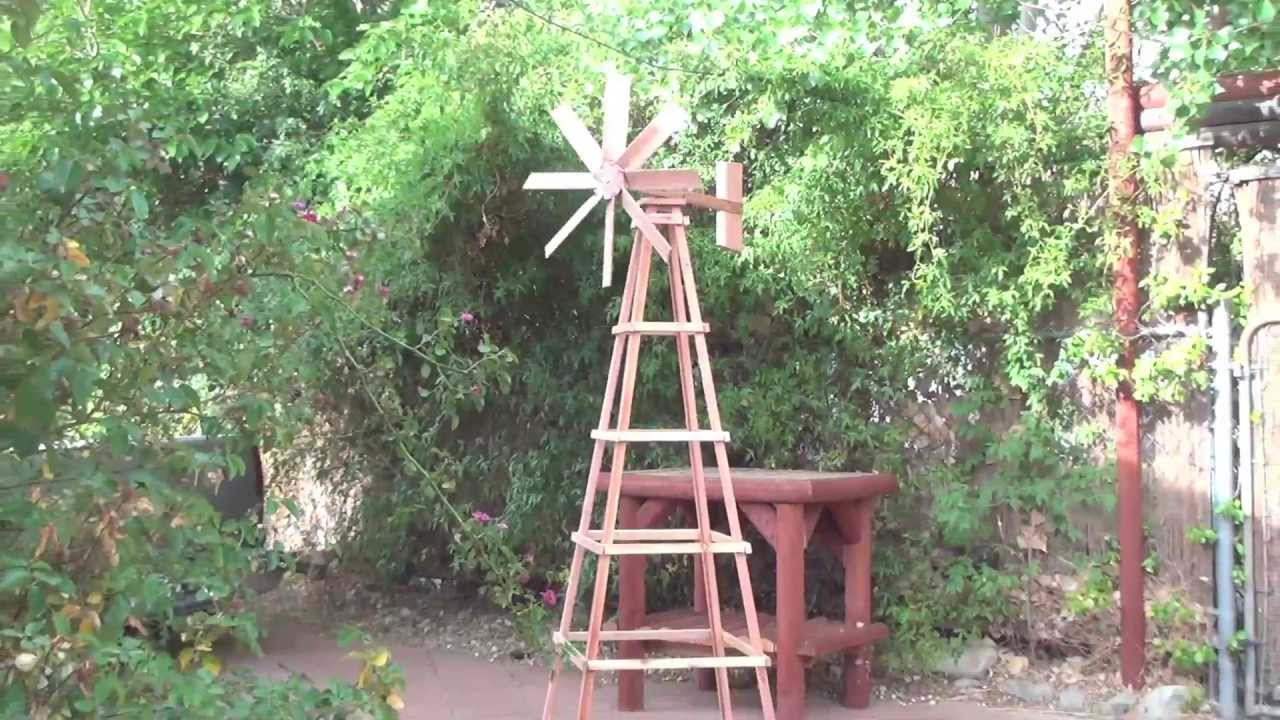 Hand Crafted Garden Redwood Windmill With Stand Youtube