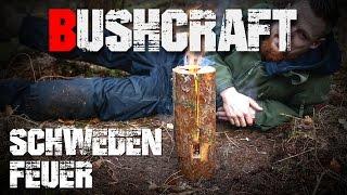 Schwedenfeuer Survival Bushcraft Variante selber bauen machen herstellen sägen (german/deutsch)