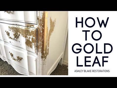 How to Gold Leaf Dresser Makeover