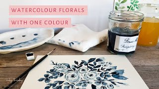 Watercolour Flowers with One Colour | Watercolour for Relaxation