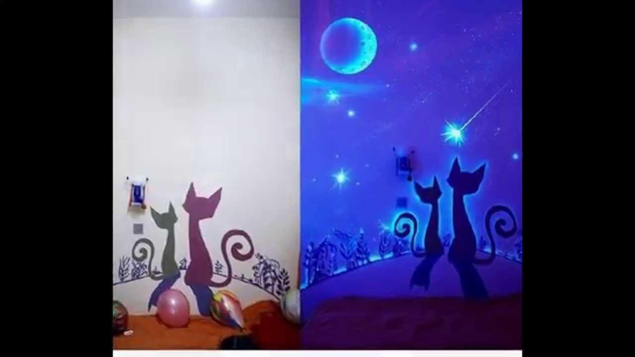 15 glow in the dark wall murals youtube for Black light mural