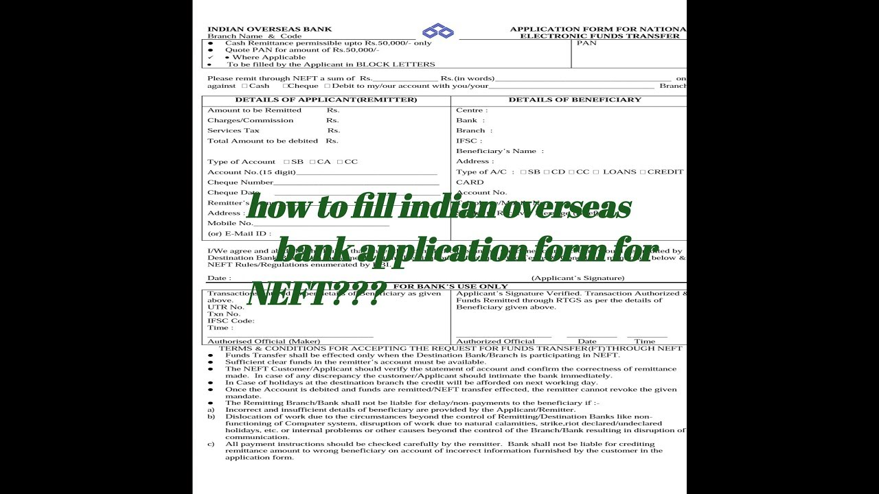 Indian Overseas Bank Lication Form