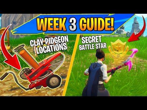 Fortnite WEEK 3 CHALLENGES SEASON 5 GUIDE! - Clay Pidgeon Locations, Secret Battle Star!