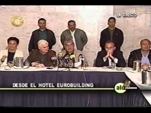 Carlos Ortega durante La Marcha de las Antorchas, paro petrolero 2002-2003