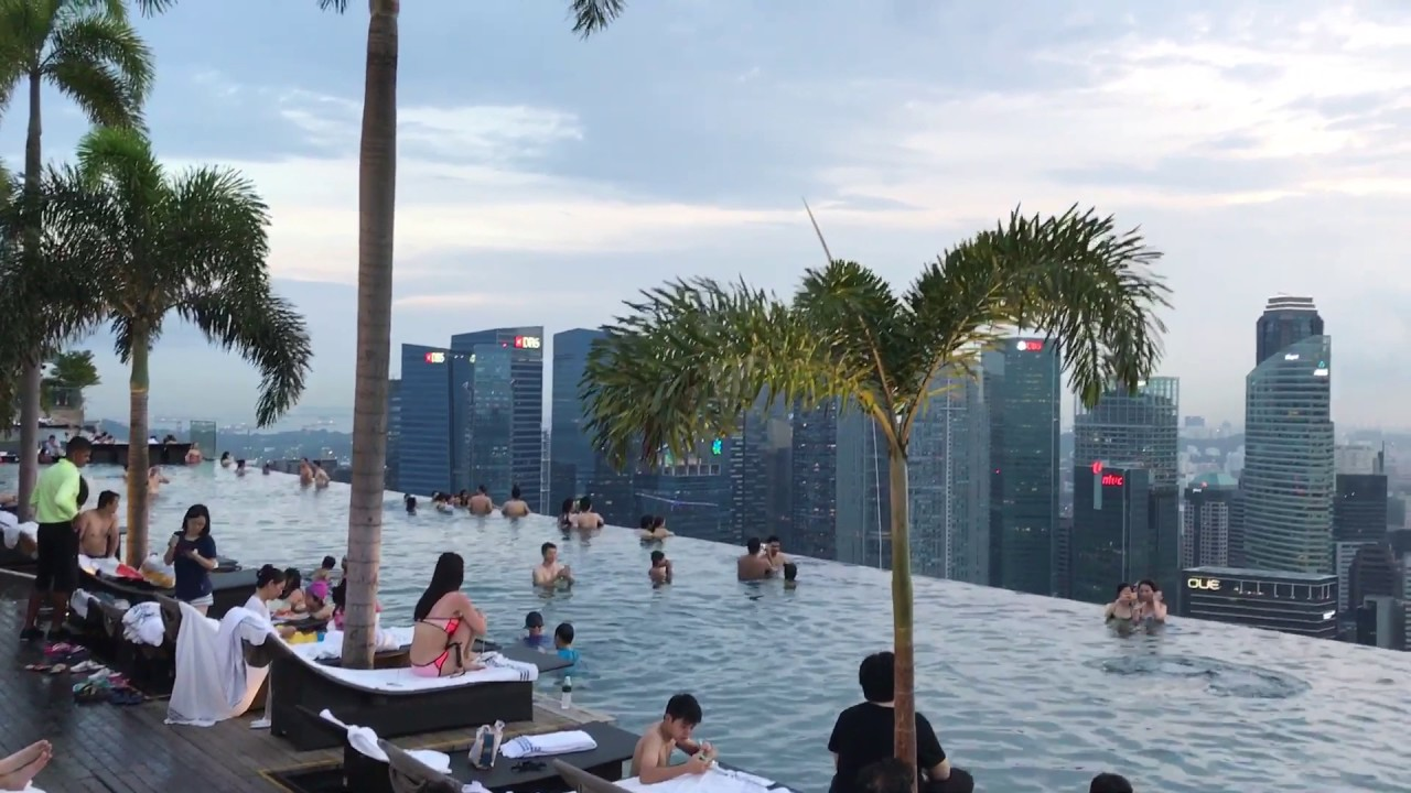 Marina bay sands hotel 57th floor swimming pool - YouTube