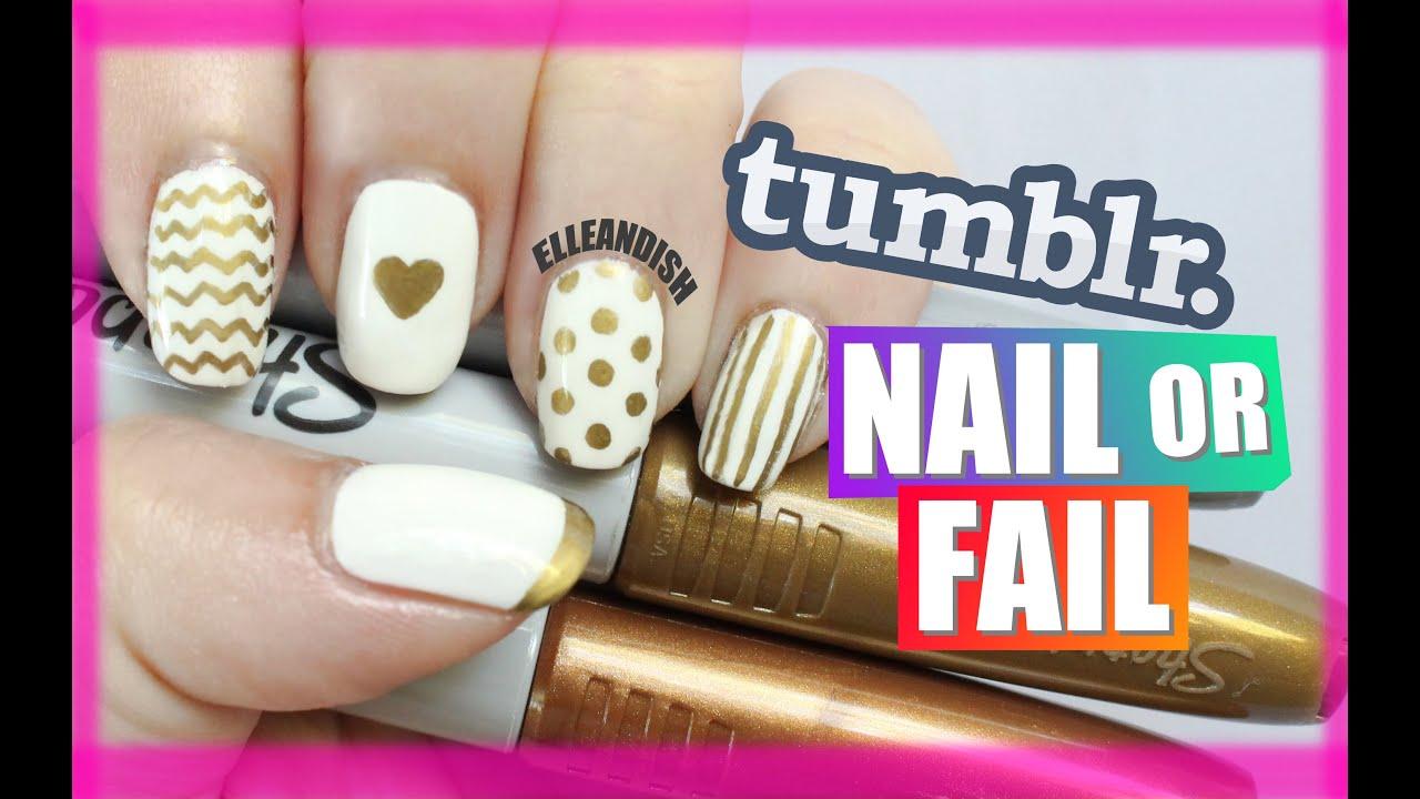 Tumblr Nail Or Fail Diy Metallic Sharpie Nails Youtube