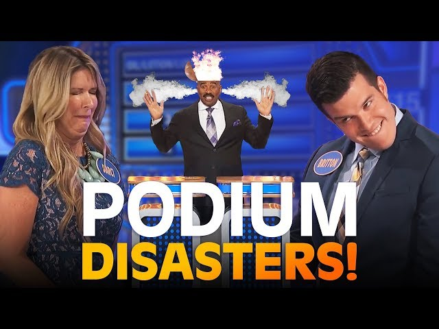 MIND-BLOWING PODIUM DISASTERS!! Steve Harvey LOSES IT!! | Family Feud