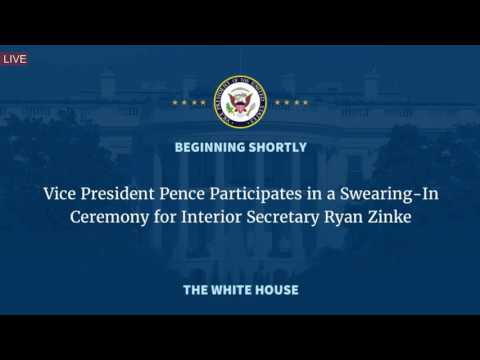 Mike Pence Participates in a Swearing In Ceremony for Interior Secretary Ryan