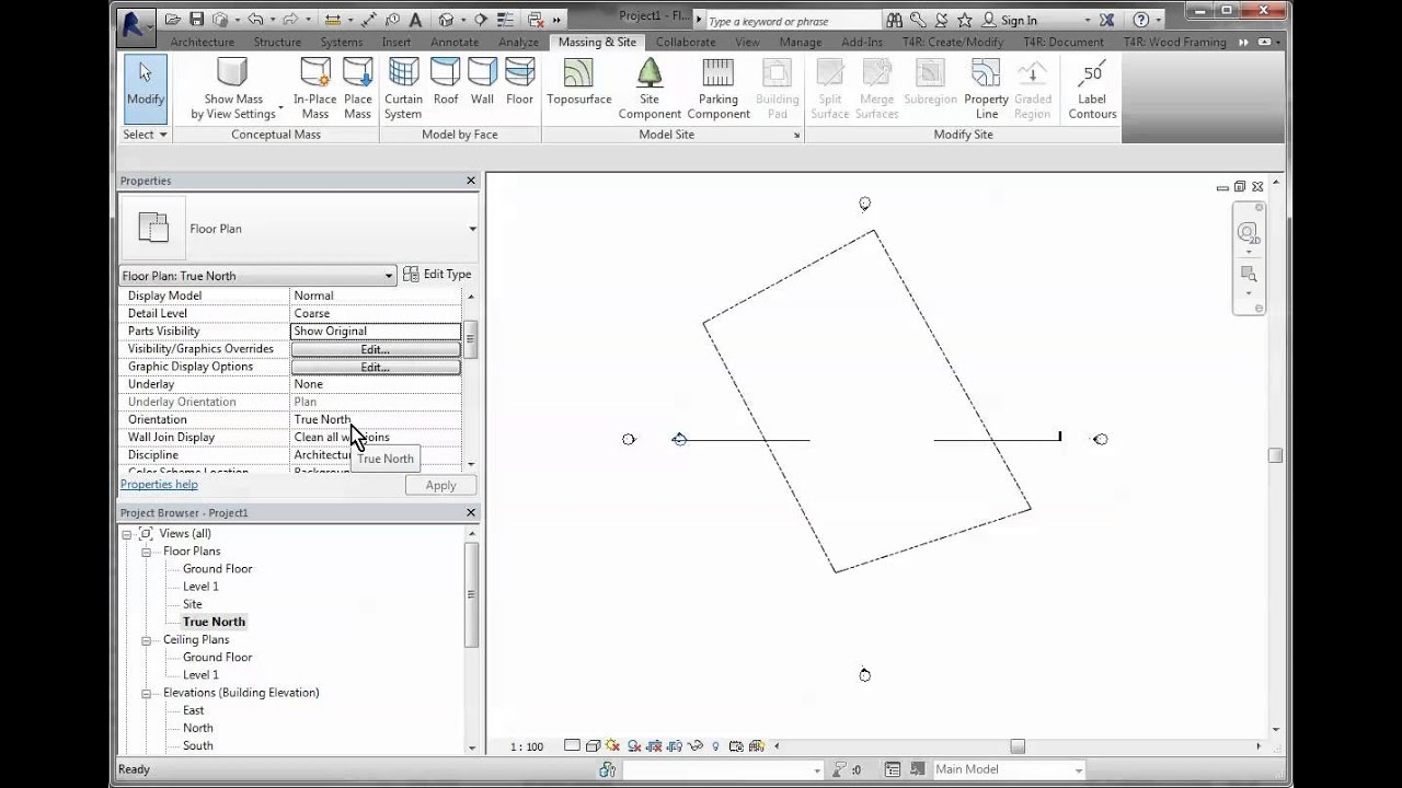 Drawing Property Lines In Revit : Revit site from azimuth bearings and distances youtube