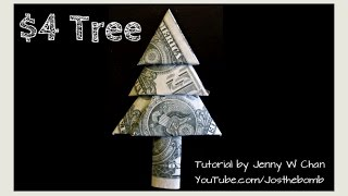 Diy How To Fold Money Standing Christmas Tree - Origami Tutorial - Money Origami (easy) #diydecember