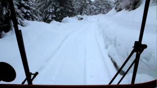 The view from the front seat in a Tucker Sno-Cat
