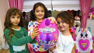 Masal and Öykü or Surprise from Friend! Kids pretend Play Rainbocorn SURPRISE Egg