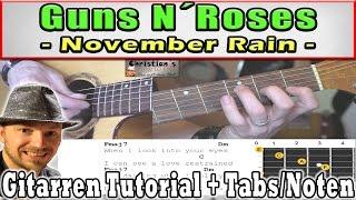 "★Guns N Roses NOVEMBER RAIN ""Original Akkorde"" für Anfänger Akustik Gitarren Tutorial | +TAB CHORDS★"
