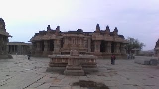 Ancient Indian civilization: Viththal Temple, stone Chariot and surroundings at Hampi