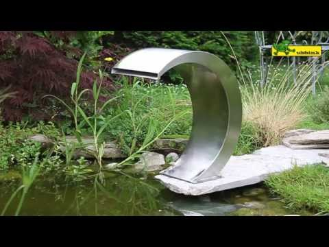 Ubbink edelstahl wasserfall mamba youtube for Wasserfall mamba