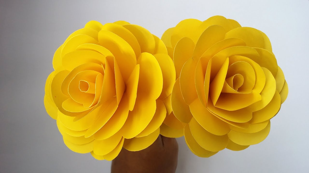 Diy Paper Rose How To Make Beautiful Yellow Rose With Colour