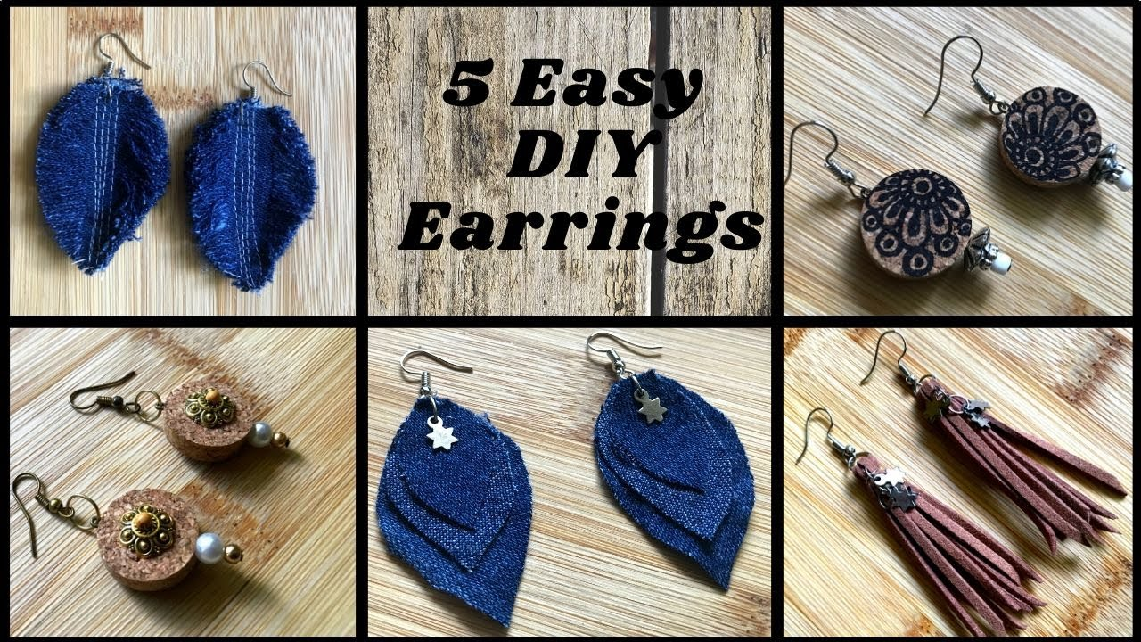5 Easy DIY Earrings | Handmade Jewellery | Make your own Jewelry at home
