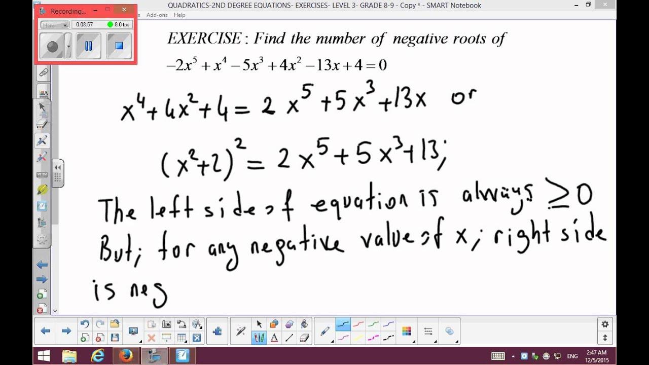 Quadratics 2nd Degree Equations Exercises Level 3 Grade 8 9 Part 2