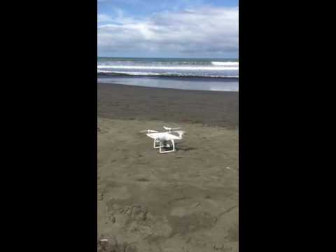 Drone tacking of on the beach in Costa Rica