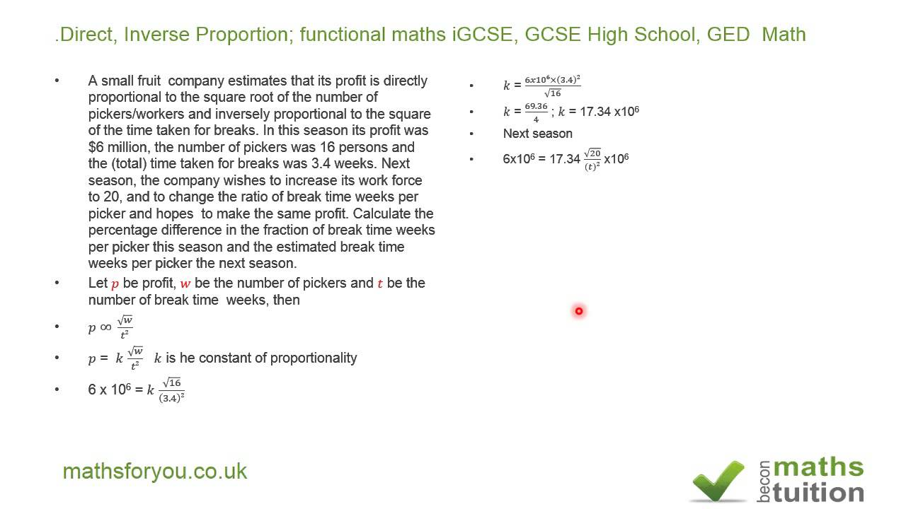 Direct Inverse Proportion Functional Maths Igcse Gcse High