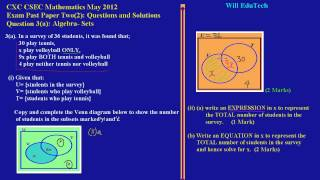 csec cxc maths past paper 2 question 3a may 2012 exam solutions answers by will edutech
