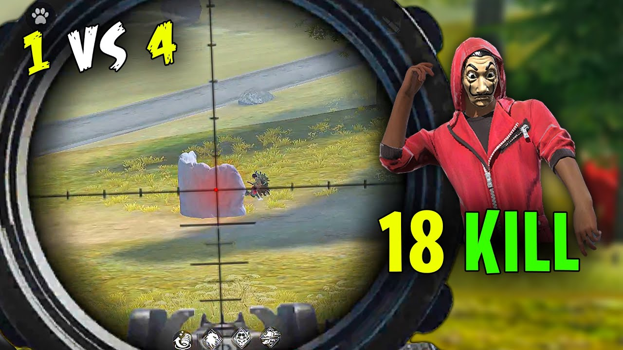 Solo vs Squad AWM 18 Kill Next Level OverPower Gameplay - Garena Free Fire- Total Gaming