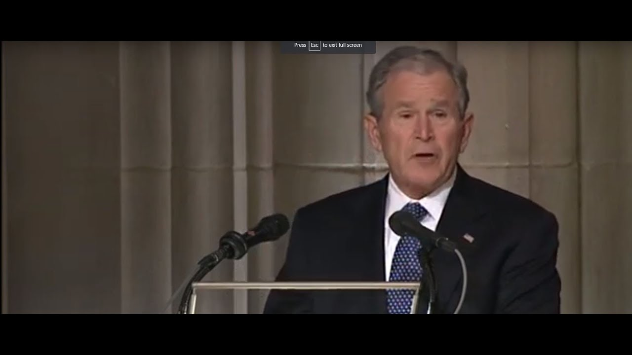 George W  Bush Eulogizes Father At George H W  Bush State