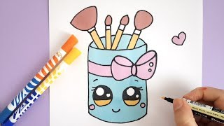 HOW TO DRAW A CUTE MAKEUP - BRUSH HOLDER