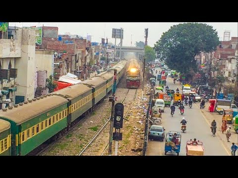 Trains Running In Busy Locality Of Lahore City | Track Machine | Pakistan Railways