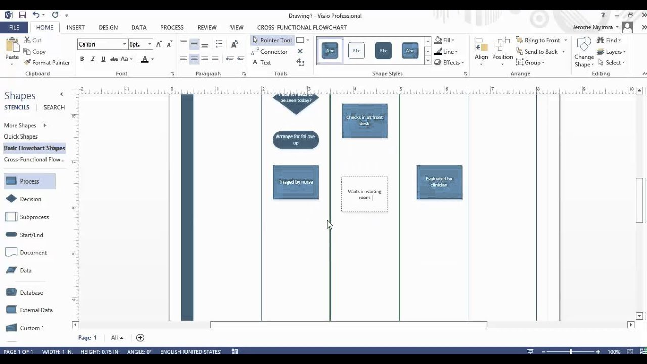 Creating Swim Lane Visio 2013 Youtube