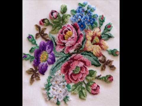 Flores para tapices y punto de cruz youtube - Tapices para pared ...