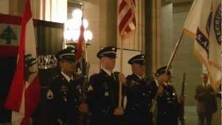 US Army Color Guard and US and Lebanese National Anthems