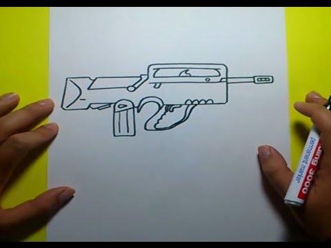 Como Dibujar Un Arma Paso A Paso How To Draw A Gun