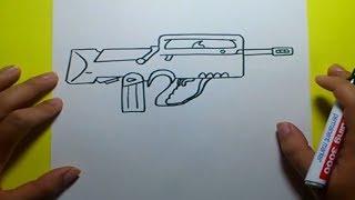 Como dibujar un arma paso a paso | How to draw a gun